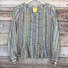 Anthropologie Maeve Long Sleeve Blouse M Blue Floral Button Front 0756