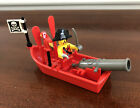 Lego Pirate Minifigure With Accessories Rowboat Oars Cannon Flag Parrot Sword