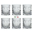 Italian Crystal Glass Set of 6 Sparkle Whiskey Tumblers
