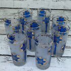 Vintage 50's 60's Glasses 12oz Blue Gold Tall High Ball Glassware Set of 8