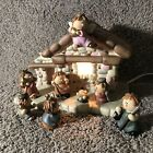 8 Piece Lighted Ceramic Children Child Nativity Scene Boxed