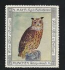 Germany Bird Poster Stamp Mayr Munich Early 1900s Eurasian eagle owl
