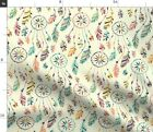 Dreamcatcher Native American Colorful Feathers Fabric Printed by Spoonflower BTY