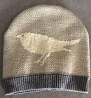 Knit Cotton Child's Hat Creative Co-Op Made in India Bird Beanie Gray Taupe