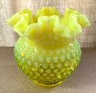 FENTON LARGE YELLOW VASELINE TOPAZ OPALESCENT HOBNAIL 5 1 2 CRIMPED ROSE BOWL