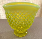 FENTON YELLOW VASELINE OPAL HOBNAIL MINI FAN TOPPED BUD VASE MINT ESTATE SALE