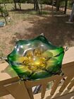 Vintage Collectible Star Fish Bowl Green Gold 11 Italian Glass Mid Century