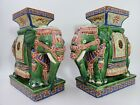 Ceramic Porcelain Asian Elephants Set Shelf Plant Stand Budha Oriental Decor