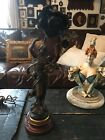 ANTIQUE FRENCH SPELTER LADY LAMP SIGNED MAXIM MUSIQUE FOUNDRY MARK LOVELY