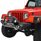 Front Bumper W Winch PlateD Rings Black Fit for 87 06 Jeep Wrangler TJ YJ