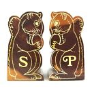 Vintage Wooden Salt And Pepper Shaker Set Yellowstone Natl Park Squirrels 35