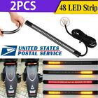 Motorcycle 48 LED Flexible Strip Light Integrated Tail Brake Stop Turn Signal US