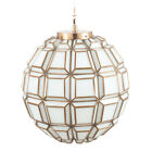 Antique Brass and White Glass Pendant