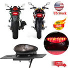 Custom LED Turn Signals Brake Tail Light License Plate 12V For Bobber Chopper US