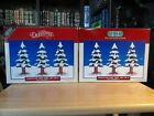 Vintage LEMAX VILLAGE COLLECTION: 6 Porcelain 7 inch tall Pine Trees With Snow