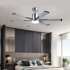 52 Industrial Ceiling Fan with 6 Aluminum Fan Blades White Glass LED Light yw