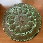Tiara Indiana Glass Chantilly Green Sandwich Deviled Egg and Serving Platter