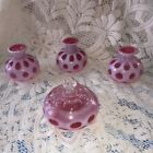 Vintage Fenton Art Glass Cranberry Opalescent Coin Dot Vanity Perfume Set