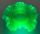 FENTON VINTAGE BEAUTIFUL GREEN OPALESCENT RUFFLED BON BON DISH IN MINT CONDITION