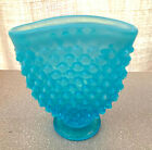 FENTON BLUE OPALESCENT OPAL HOBNAIL MINI FAN TOPPED BUD VASE MINT FR ESTATE SALE
