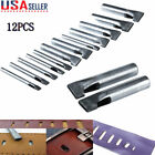 Leather Craft 12PCS Rectangle Punch Hole Tools Kit Oval Shape Puncher Cutter USA