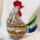 COLORFUL HAND BLOWN MURANO STYLE GLASS ROOSTER HEN CHICKEN FARM FIGURINE HEAVY