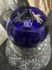 Bohemian Cobalt Blue Cut To Clear Crystal Glass Vintage Absolutely Beautiful