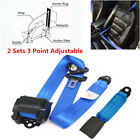 2x Blue 3 Point Retractable Auto Car Seat Belt Lap Universal Car Accessories