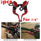 7/8 In Universal Motorcycle Brake Clutch Lever Master Cylinder Reservoir Set Red