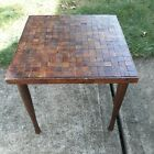 Vintage Mid Century Modern Brutalist Wood Cube Side Accent End Table retro deco