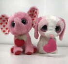 Pair of Ty Beanie Boos Pink Cookie Dog Tender Elephant Hearts Sitting Retired