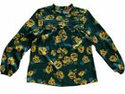 Modcloth Womens Long Sleeve Green Floral Blouse Small Silky Top Ruffle Neck
