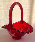 FENTON VINTAGE RUBY RED ART GLASS BASKET WITH HAND PAINTED WHITE ROSES SIGNED