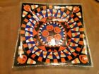 HTF Peggy Karr Halloween Trick or Treat Square Platter Fused Glass 12 1 4