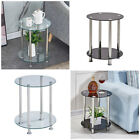 Round Glass Coffee End Side Table Storage Shelf Metal Legs Solid Living Room New