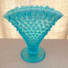 FENTON BLUE OPALESCENT OPAL HOBNAIL RUFFLE TOP FAN BUD VASE MINT ESTATE SALE