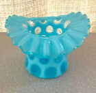 FENTON VINTAGE BLUE OPALESCENT COIN DOT RUFFLED TOP HAT VASE MINT CONDITION