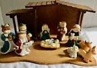 Vtg 11PC Childrens Nativity Set porcelain bisque figures wood Creche