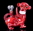 Monkey Chimp Animal Bong Glass Water Pipe Bubbler Limited Edition Red USA