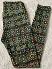 LuLaRoe Leggings OS Multi Color Floral Stained Glass Mosaic Medallions VINTAGE