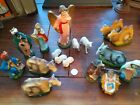 17 Vintage Nativity Figurines Set of Hand Painted Figures Paper Mache Japan