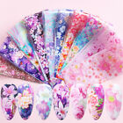 10 Flower Transfer Manicure Decor Nail Foil Nail Art Stickers Holographic Decals