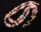 Vintage TRIFARI Pink Art Glass and AB Crystal Bead Double Strand Necklace