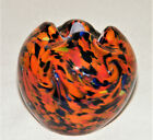 Vintage MURANO MINIATURE ART GLASS ROSE BOWL VASE End Of Day Colors Italy