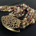 Chicos Givre Glass Bead Brass Etruscan Slider Pendant Necklace Red Amber 16