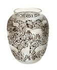Lalique France Biches Proof Vase Dark Brown  Frosted Clear Figural Deer