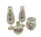 White Frosted Glass Vanity Set With Painted Pink Roses Vase Jar Perfume Bottle