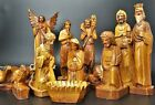 Vintage Nativity Set Carved Features Tall Figures Angel Kings Animals