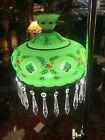 Antique Bohemian Glass Crystal Hanging Swag Light Fixture Cut to Clear Green