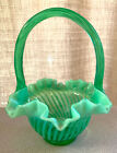 FENTON VINTAGE BEAUTIFUL GREEN OPALESCENT SWIRL OPTIC PATTERN IN MINT CONDITION